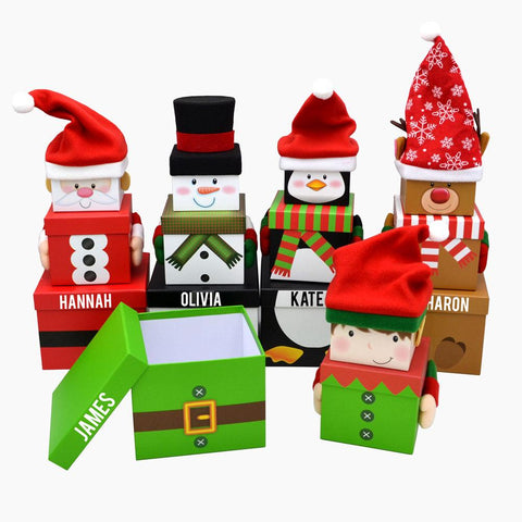 Personalised Christmas gift boxes with Santa, snowman, penguin, reindeer and elf designs.