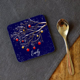 Personalised Winter Tree Christmas Coaster