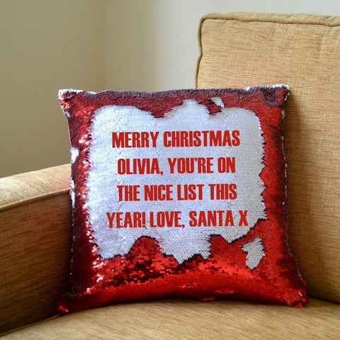 A personalised secret message from Santa cushion with red sequins