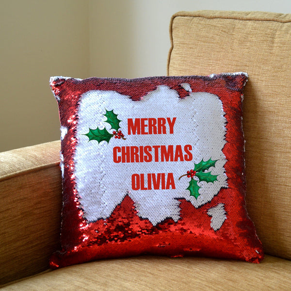 a personalised Christmas cushion with red sequins