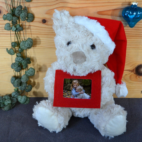 Personalised Christmas Teddy With Photo and Santa Hat