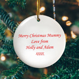 "The other side of the personalised photo decoration showing a message saying ""Merry Christmas Mummy love from Holly and Adam xxxx"""