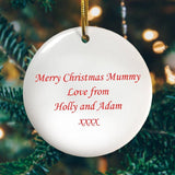 Personalised Ceramic Christmas Tree Decoration Message on Reverse