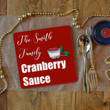 a personalised cranberry sauce placemat