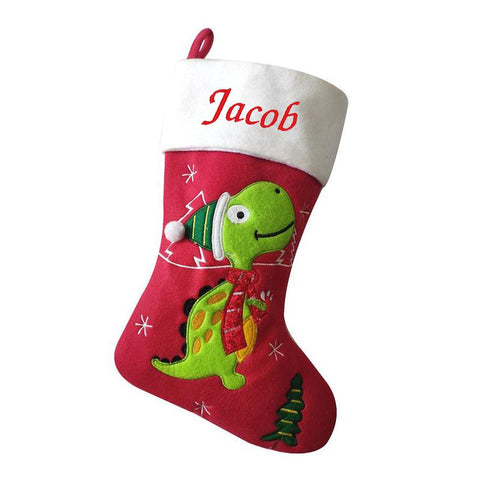 Personalised Embroidered Luxury Dinosaur Christmas Stocking