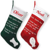 Personalised Embroidered Christmas Pet Dog & Cat Xmas Stocking - Personalised Christmas