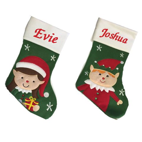 Luxury Deluxe Personalised Embroidered Christmas Elf on the Shelf Style Boys & Girls Xmas Stocking
