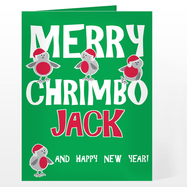 Personalised Merry Chrimbo Robin Card