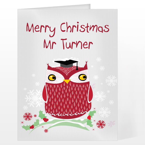 Personalised Christmas Owl Card