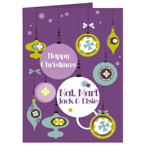 Personalised Retro Bauble Card