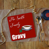 A personalised Christmas Dinner gravy placemat