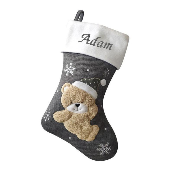 Luxury Deluxe Dark Silver Knitted Baby Teddy Personalised Embroidered Christmas Stocking