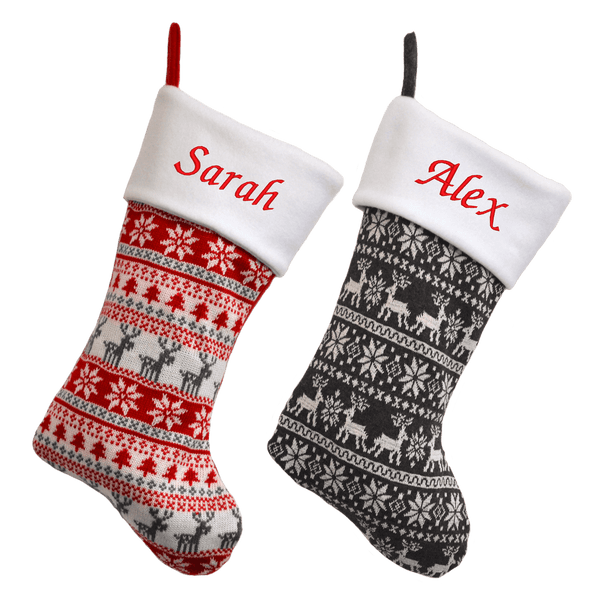 Personalised Luxury Deluxe Embroidered Nordic Knitted Christmas Stocking