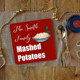 a personalised mashed potato placemat