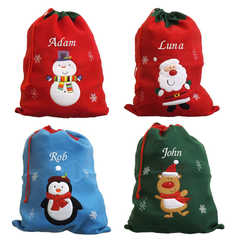 Personalised Luxury Deluxe Embroidered Santa Sack - Santa, Snowman, Penguin & Reindeer