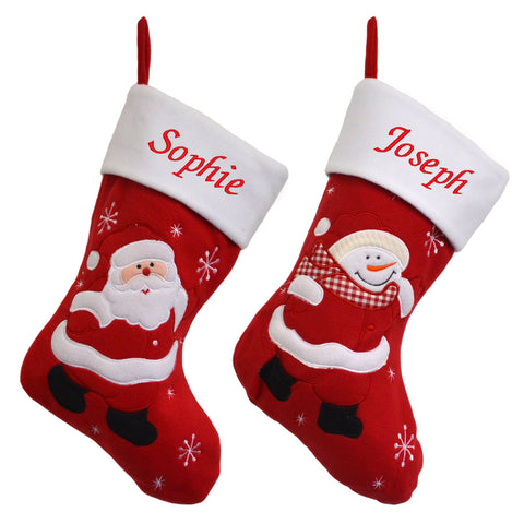 Luxury Deluxe Personalised Embroidered Christmas Classic Santa / Snowman Xmas Stocking