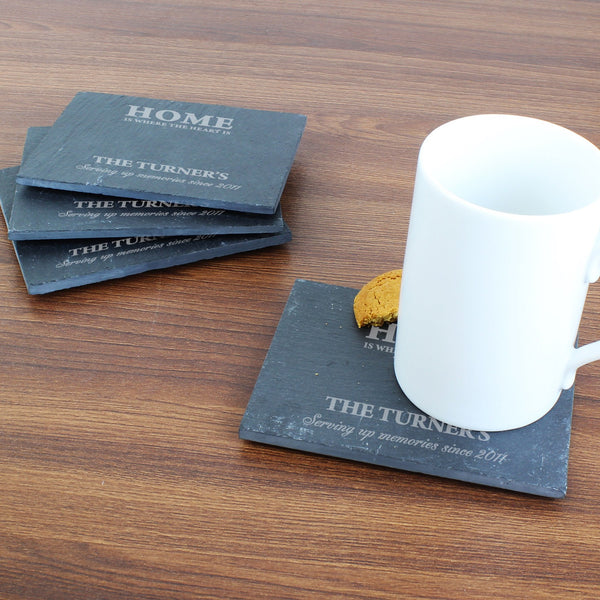 Personalised Home 4 Pack of Slate Coasters