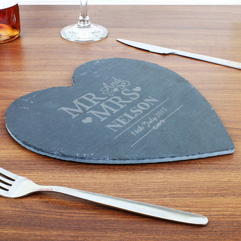 Personalised Mr & Mrs Slate Heart Placemat