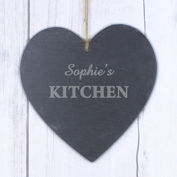Personalised Kitchen Large Slate Heart Decoration