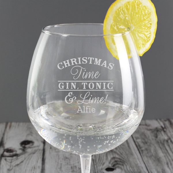 Personalised Christmas Gin Balloon Glass