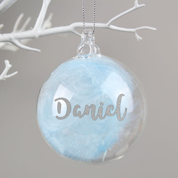 Personalised Silver Glitter Blue Feather Glass Bauble