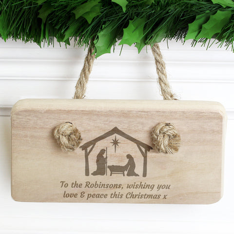 Personalised Nativity Wooden Sign