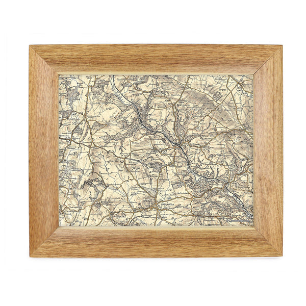 Personalised Postcode Map 10x8 Wooden Frame - Revised New