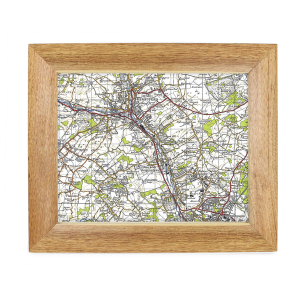 Personalised Postcode Map 10x8 Wooden Frame - New Popular Edition