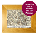 Personalised Postcode Map 10x8 Wooden Photo Frame - Revised New With Message