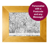 Personalised Postcode Map Wooden 10x8 Photo Frame - Old Series With Message
