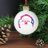 Personalised Red Nose Santa Bauble