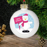 Personalised Rooftop Penguin Christmas Bauble