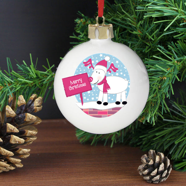 Personalised Rooftop Rudolph Christmas Bauble