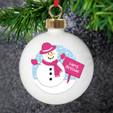 Personalised Rooftop Snowman Christmas Bauble