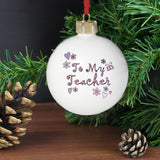 Personalised Flowers and Butterfies Teacher Bauble