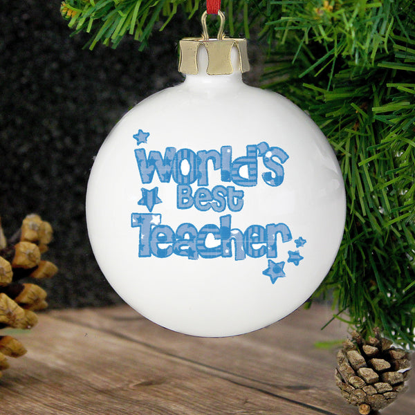 Personalised Blue Worlds Best Teacher Bauble