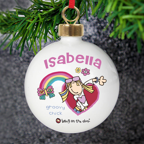 Personalised Bang on the Door Groovy Chick Bauble