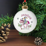 Personalised Bang on the Door Pony Girl Bauble