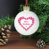 Personalised Christmas Heart Bauble
