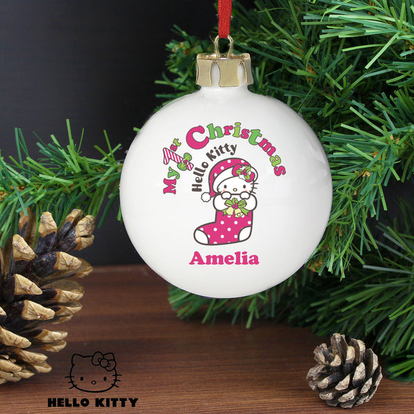 Personalised Hello Kitty My 1st Christmas Bauble