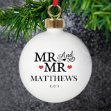 Personalised Mr & Mr Bauble