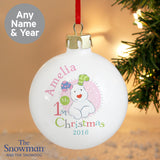 Personalised The Snowman and the Snowdog My 1st Christmas Pink Bauble