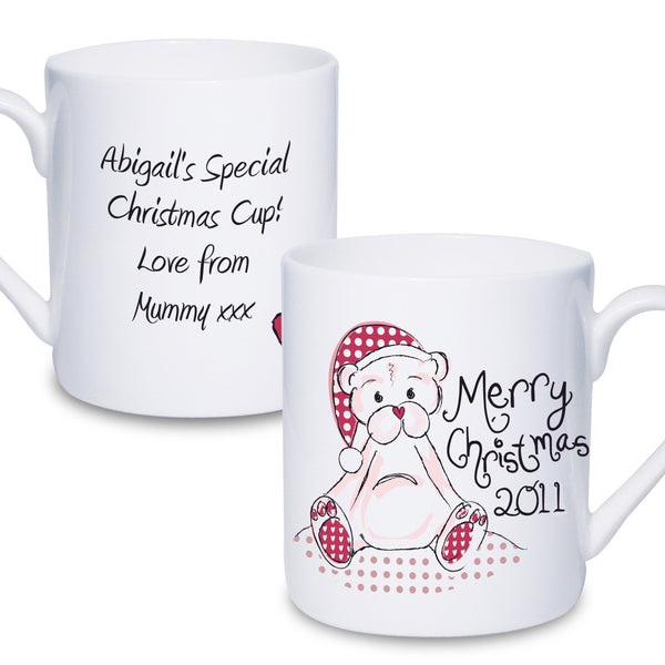 Personalised Cute Teddy Christmas Mug