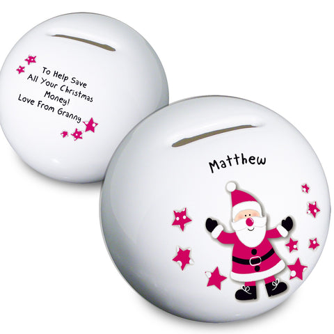 Personalised Spotty Santa Money Box