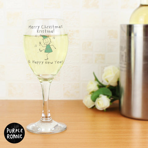 Personalised Purple Ronnie Christmas Elf Wine Glass