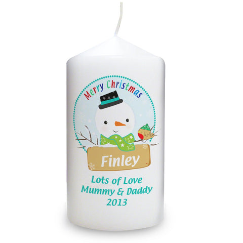 Personalised Snowman Candle