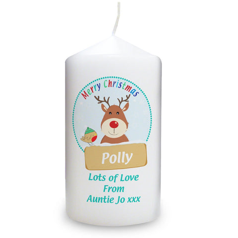 Personalised Rudolph Candle
