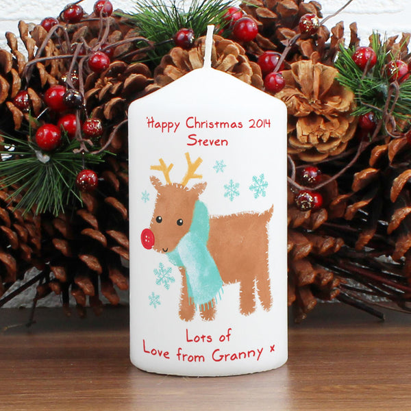 Personalised Felt Stitch Reindeer Candle