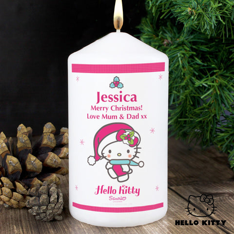 Personalised Hello Kitty Pink Christmas Candle