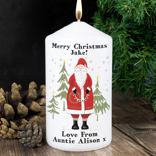 Personalised Father Christmas Candle